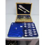 A Set of Twelve Hallmarked Silver Coffee Spoons, Walker & Hall, Sheffield 1939, initialled, complete