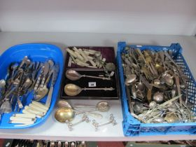 A Mixed Lot of Assorted Plated Cutlery, a pair of mother of pearl knife rests, mother of pearl