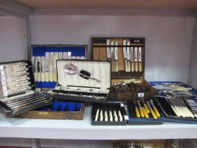 Assorted Cased Sets of Plated Cutlery, including fish knives and forks, tea knives, dessert spoons