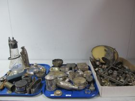 A Mixed Lot of Assorted Plated Ware, including a Danish taper stick stand, claret jug (damages),