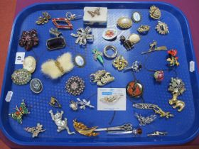 Assorted Costume Brooches, including cameo style, Celtic style etc :- One Tray