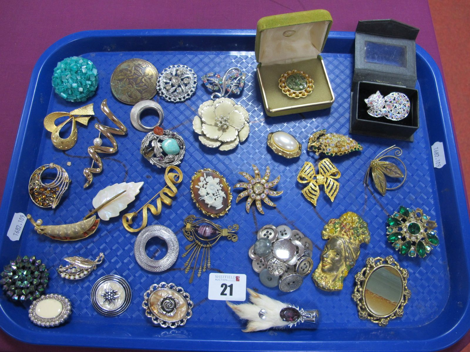 Assorted Costume Brooches, including cameo style, dress clips etc :- One Tray