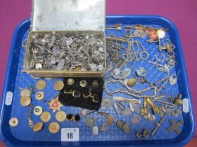 Cufflinks, tie clips, assorted part chains, T-bars, cufflink components, etc :- One Tray