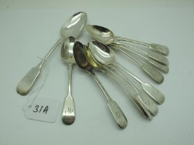 Assorted Hallmarked Silver and Plated Fiddle Pattern Teaspoons, some initialled, etc. (11)