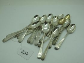 A Set of Five Part Hallmarked Silver Teaspoons, IL, possibly London 1809, with bright cut engraved