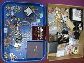 A Mixed Lot of Assorted Costume Earrings, (clip on and pierced) :- Two Trays