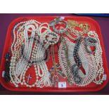 Imitation Pearl Necklaces, fresh water pearl bracelets, diamanté bracelets, ladies wristwatch,