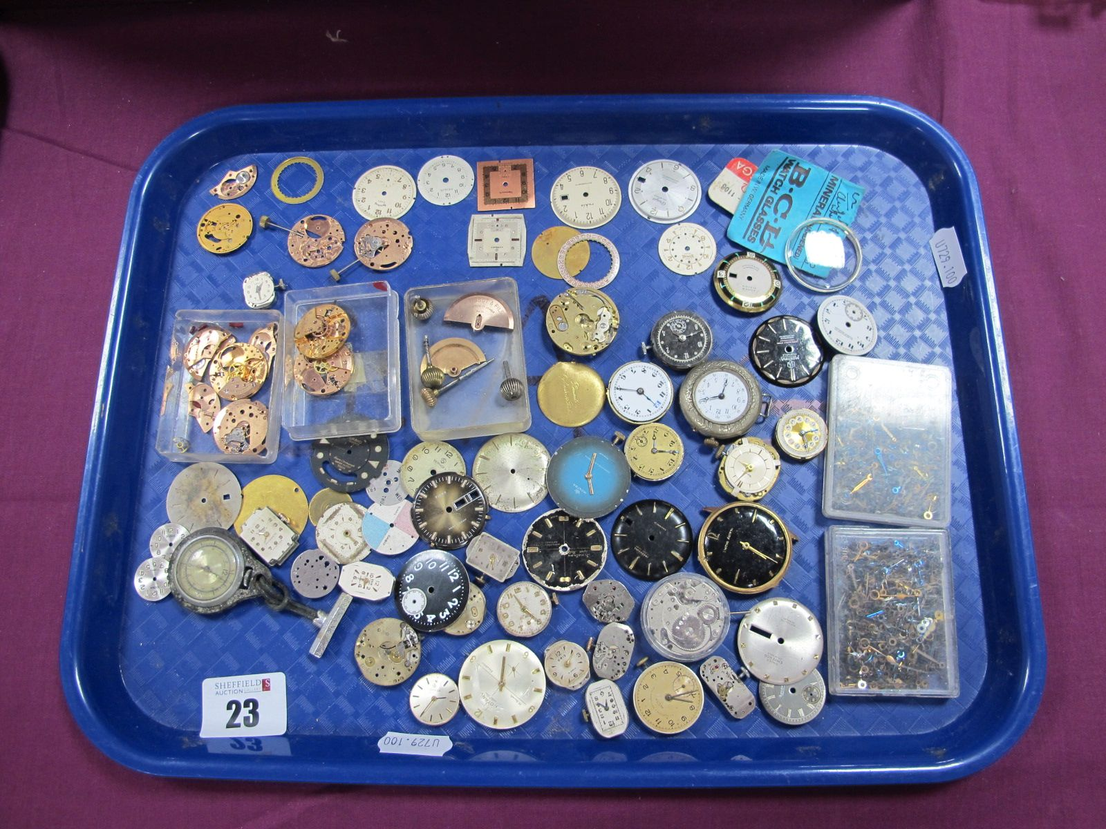 Assorted Wristwatch Dials, hands etc :- One Tray