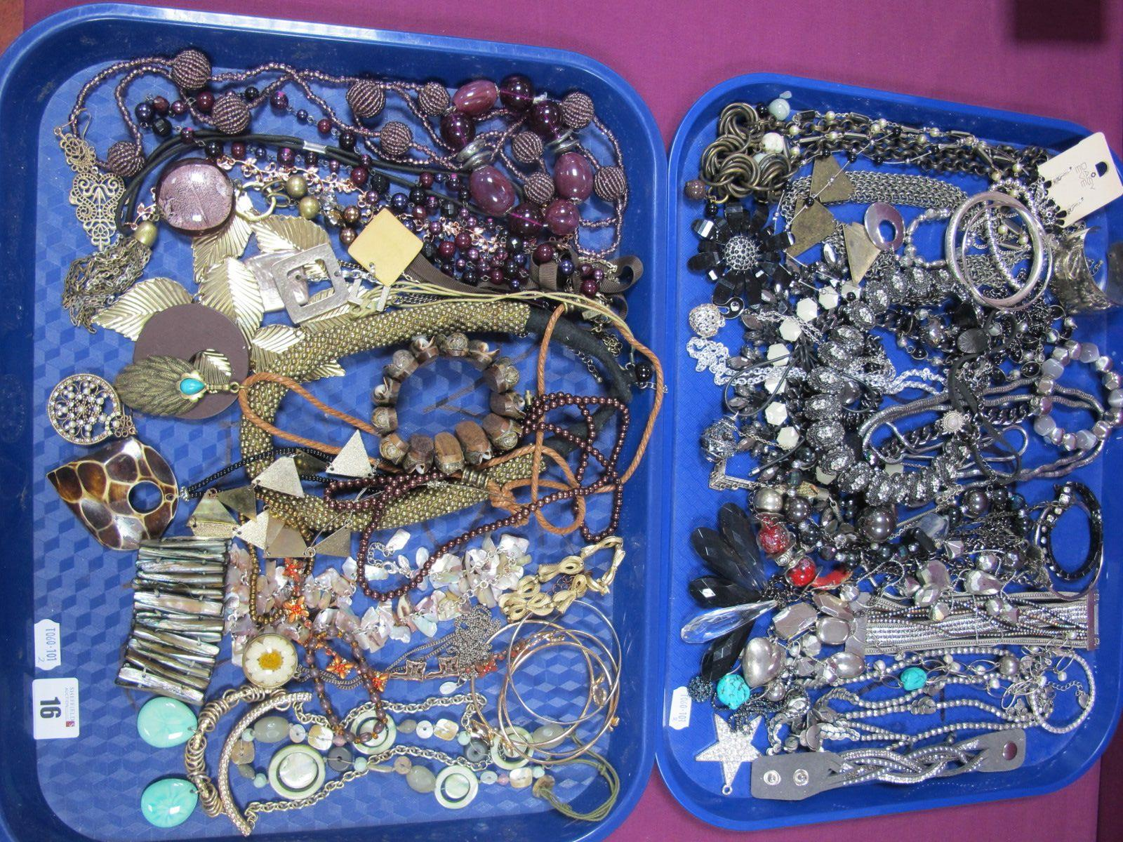 A Variety of Modern Costume Jewellery, including diamanté necklaces, bracelets, bangles etc :- Two