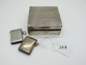 """Two Hallmarked Silver Vesta Cases, one inscribed """"A.C.H. 3rd April 1898""""; together with a square"""