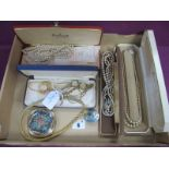 Alpaca Mexico Shell Inset Brooch, together with a 9ct gold cased ladies wristwatch, on later