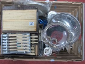 Assorted Plated Ware, including tea ware, comport, toast rack, swing handled dish, butter dish,