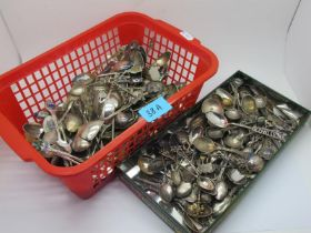A Mixed Lot of Assorted Souvenir and Other Teaspoons, including examples highlighted in enamel.