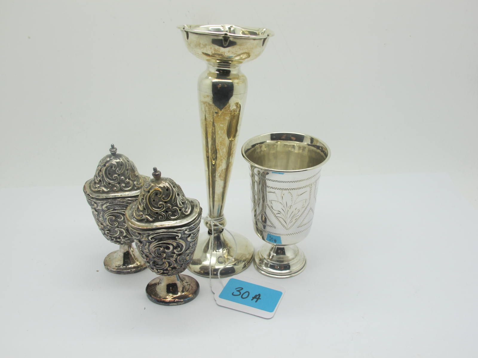 """A Russian Goblet Tot, (indistinctly stamped """"84"""") with engraved decoration, on pedestal base, 9cm"""