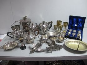 A Mixed Lot of Assorted Plated Ware, including tea wares, pair of table cockerels, cased and loose