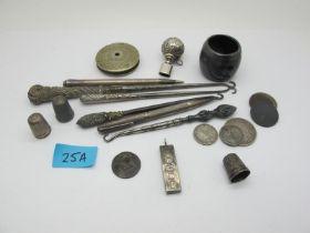 A Hallmarked Silver Ingot Pendant, button hooks, coins, thimbles, engine turned pencils, etc.