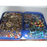 Two Trays of Modern Costume Jewellery, including ethnic style bead necklaces, bangles, bracelets etc