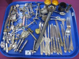 Plated Ware, including lobster picks, a long cylindrical case with engraved decoration, pair of