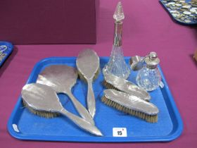 A Hallmarked Silver Backed Five Piece Dressing Table Set, with engine turned decoration; together