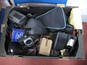 Chinon CX Camera Body, enlarging meter, Zeiss bit, Canon AF-7-Olympus 140S, Olympus zoom 115,