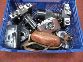 {raktica MTL5 Camera with Auto Chinon F=200mm Lens, Praktica MTL5 Pentacon auto 2.8/135 lens,