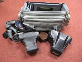 Leica Camera Case, Nikon case, various camera shoulder straps (Minolta, Nikon etc) in a classic