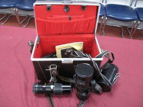 Tamron Auto F=135mm No 220033 Lens, camera folding handle-MI-Mirage zoom f=100 200mm in case, XZ all