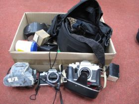 Praktica MTL3 Camera Body in Carry Case, Yashica Electro 35 with Yashica f=45mm lens, flash, bellows