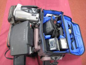 Pentax P30 Camera Body, Pentax flash, Miranda flash, Rollei X115 camera in shoulder carry bag,