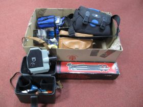 Cine Camera Quarz 5 USSR Cased, tri-pod boxed, two camera bags, flashgun, ticky test gun, National