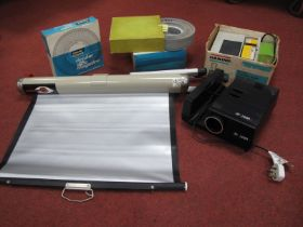 Boots 2400S Slide Viewer, with Han-O-Matic 36 slide viewer, many slides plus Cee-screen. (2)