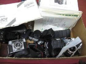 Balda Bellows Camera and Case, Cobra flash, Pentax MZ- body, Praktica TLB camera, Chinon camera