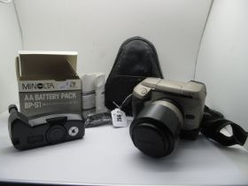 Minolta Vectis S1 with Minolta 25-150 Lens, with battery pack to base, cases, also spare AA