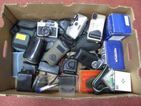 Richo Camera, Olympus, Minolta, Kikon, Konica body, Centon ring flash, many filters and shoulder