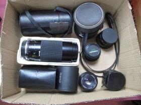 Photax Paragon F=200mm Lens, Miranda 75 - 300mm lens, Helios 44mm 2/58 lens, Pentax 35-80 kens,