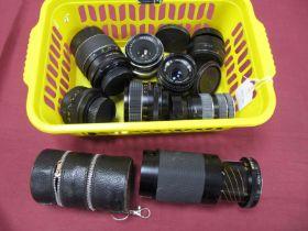 Tamron of Tele-Macro 80-210mm Lens, Optomaz auto f=135mm lens, auto Chinon and Pentacon auto 1.8/