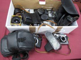 Super Zenith 10 50 Fields Binoculars, Ilford camera, Zenit camera body, Minramd flash, Minolta,
