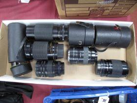 Photax 1:28/135 Lens, cased, Pentacon 7-210 lens, Helios 44M-4 cased, Minolta tele converter,