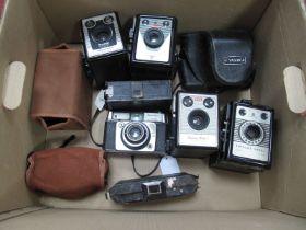 Yashica 35 Electro with f-4.5mm Lens - Cased, Brownie Model D box camera, Coronet consul, Kodak