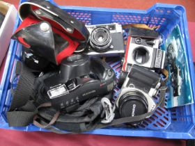Praktica Super TL Camera, Pentax MX-M with auto Chinon 50mm, Yashica with f=4.5cm lens, Fuji FZ -