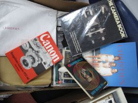 A Large Quantity of Photographic Catalogues and Some Books, Canon, Pentax etc:- One Box.