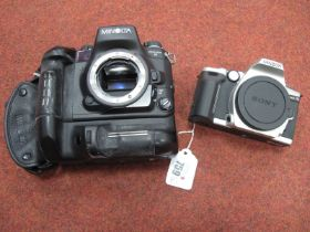 Minolta Dynax 9 Camera, with battery housing, no lens. Minolta Dynax 5 body only. (2)