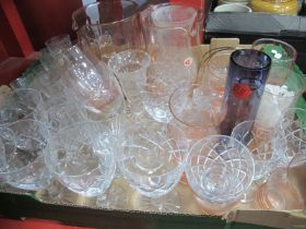 Water Jugs, tumblers, wine glasses, etc:- One Box