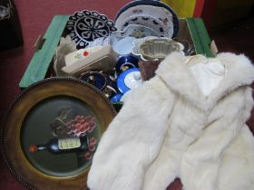 Travelling Set in Leather Case, jelly moulds, plates, Imari teapot, other ceramics, etc:- One Box