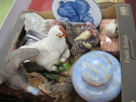 A Shelley Style Ginger Jar, pottery birds, butter dish, etc:- One Box.