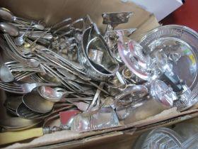 Plated Three Piece Tea Service, crumb brush, toast rack, cutlery, etc:- One Box
