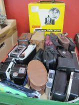 Cameras - Bilora, Brownie, Hawkeye, Durflex,, Polaroid 1 zone. Brownie Hawkeye flash outfit, etc.