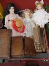 Three Indian Hardwood Boxes, three dolls, loom, glass rolling pin.