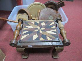 Oak Bellows, stool, bread board, barometer, Chinese cane.