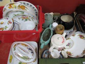 Worcester Evesham Tureen, Bowl, etc, Denby tea pot, etc:- Two Boxes